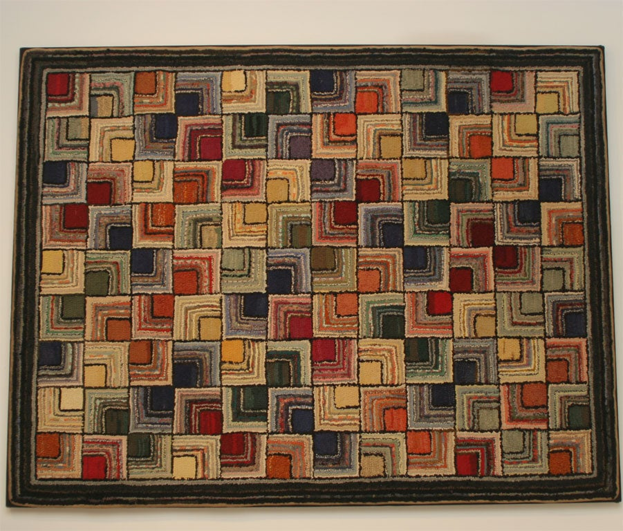 American Antique Hooked Rug, Geometric For Sale
