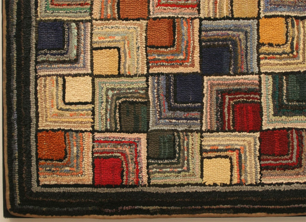 Antique Hooked Rug, Geometric In Excellent Condition For Sale In New York, NY