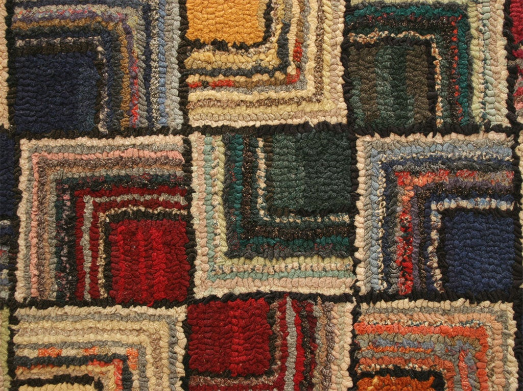 Antique Hooked Rug, Geometric 5