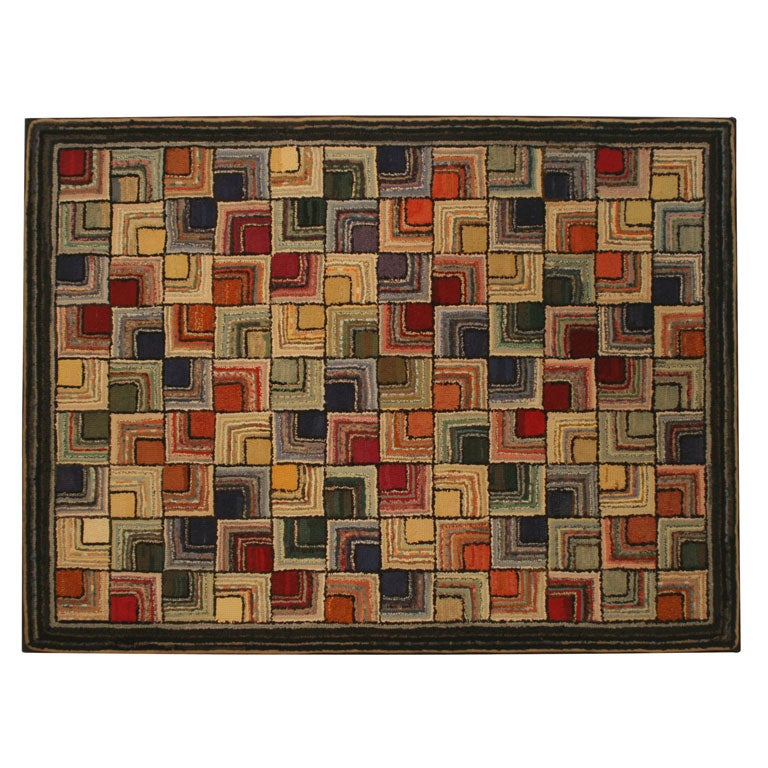 Antique Hooked Rug, Geometric For Sale