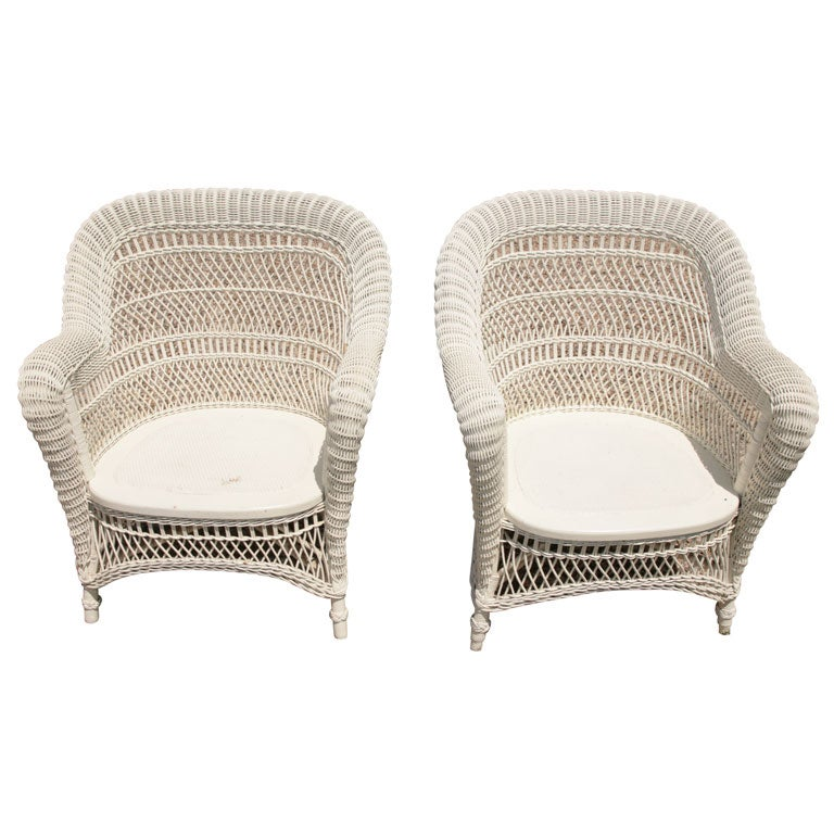 Matching pair victorian wicker rolled arm chairs at 1stdibs for Matching arm chairs