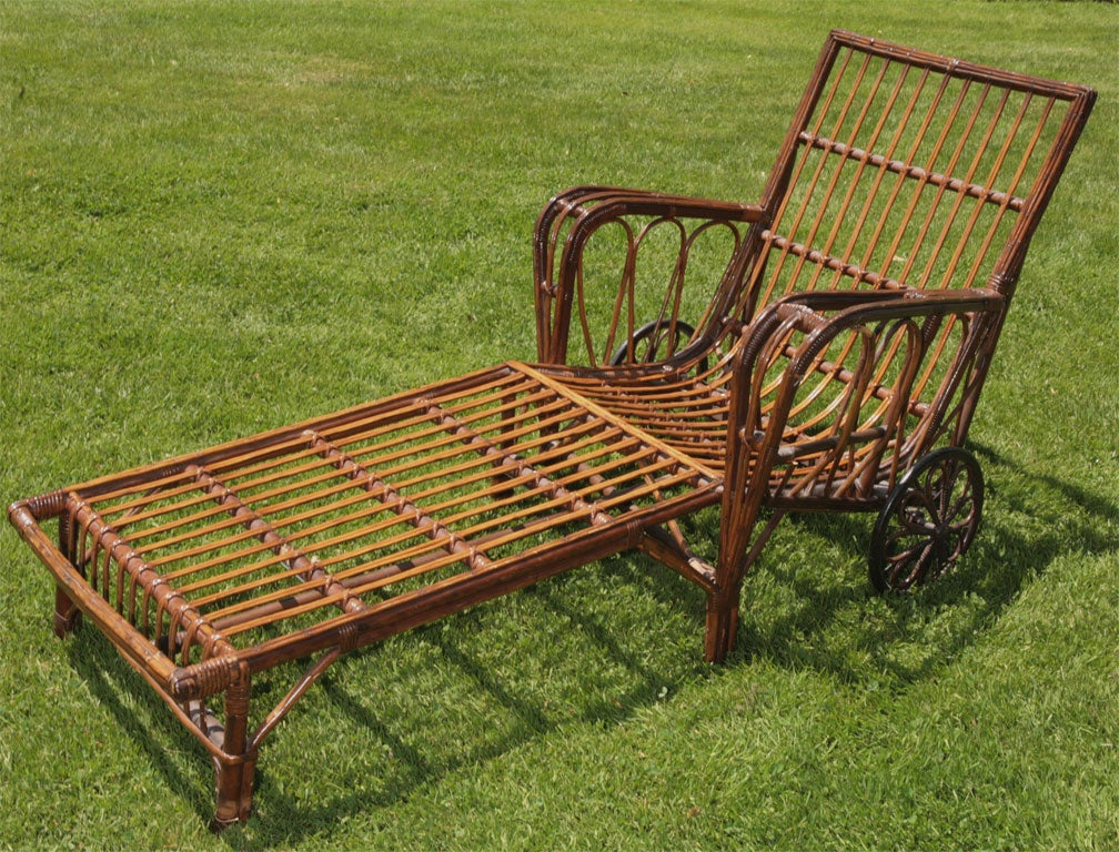 Stick wicker chaise lounge at 1stdibs for Bamboo chaise lounge