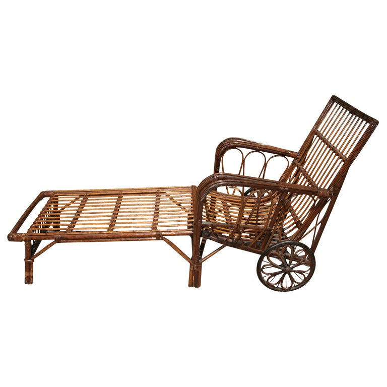Stick wicker chaise lounge at 1stdibs for Black wicker chaise lounge