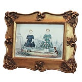 Watercolor of 2 Children in  Plaids with a Dog