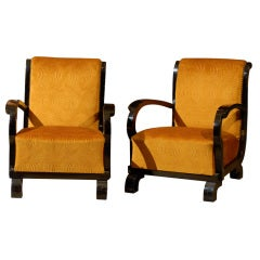Pair of Hungarian Art Deco Club Chairs