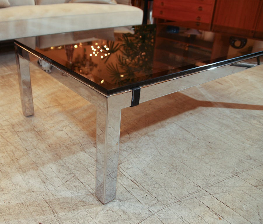 Chrome Parsons Leg Coffee Table At 1stdibs
