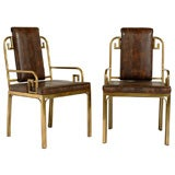 Six Brass Dining Chairs with Greek Key Designs by Mastercraft