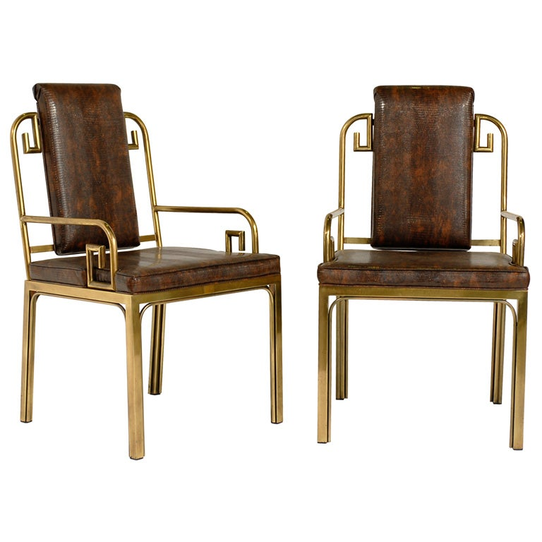 Six brass dining chairs with greek key designs by