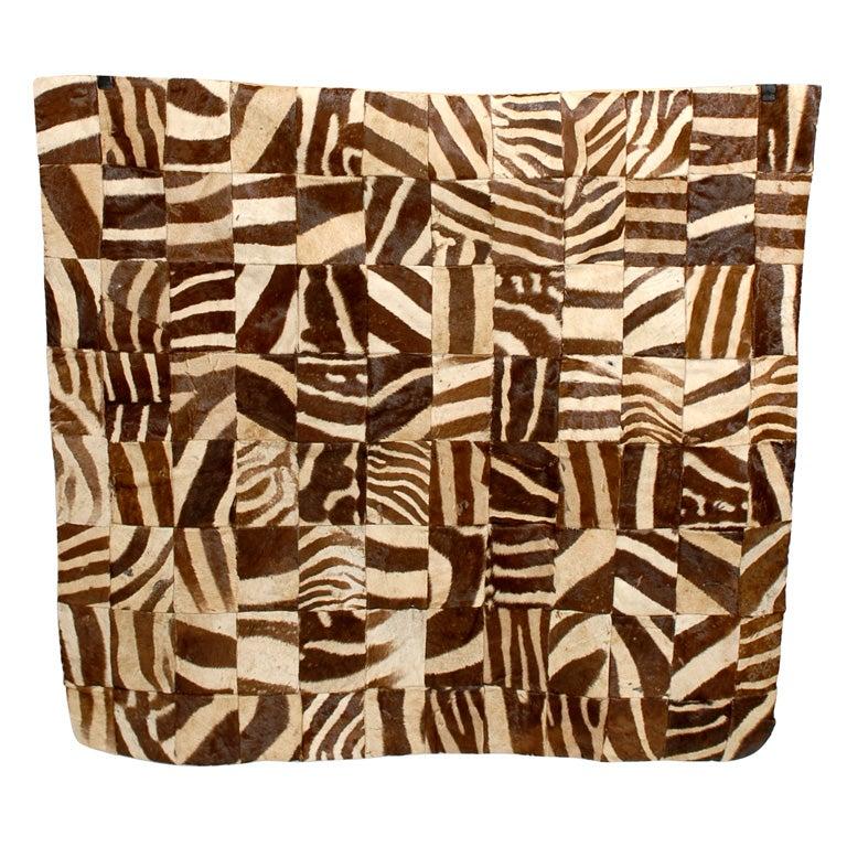 Vintage Zebra Hide Mosaic Rug