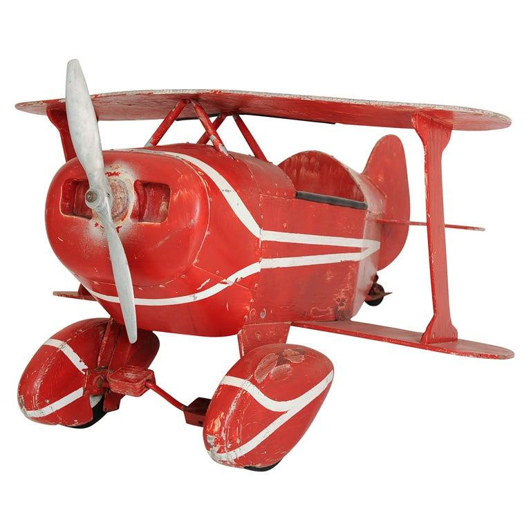 Mid 20th C Folk Art Wood Biplane Pedal Car Toy At 1stdibs