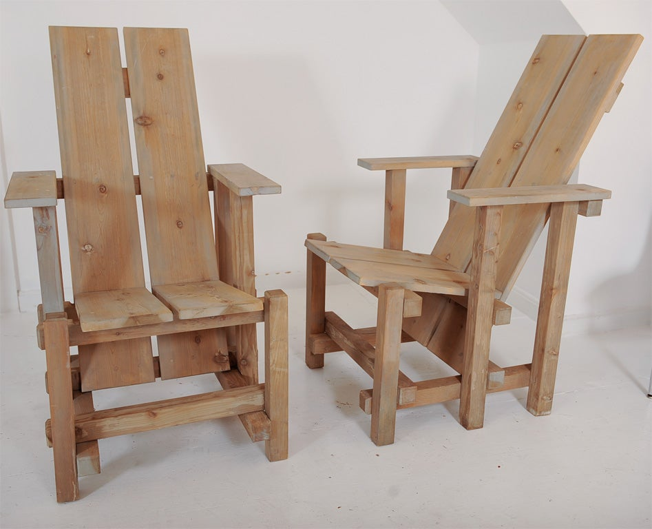 Pair Of Limed Wood De Stijl Style High Back Garden Chairs