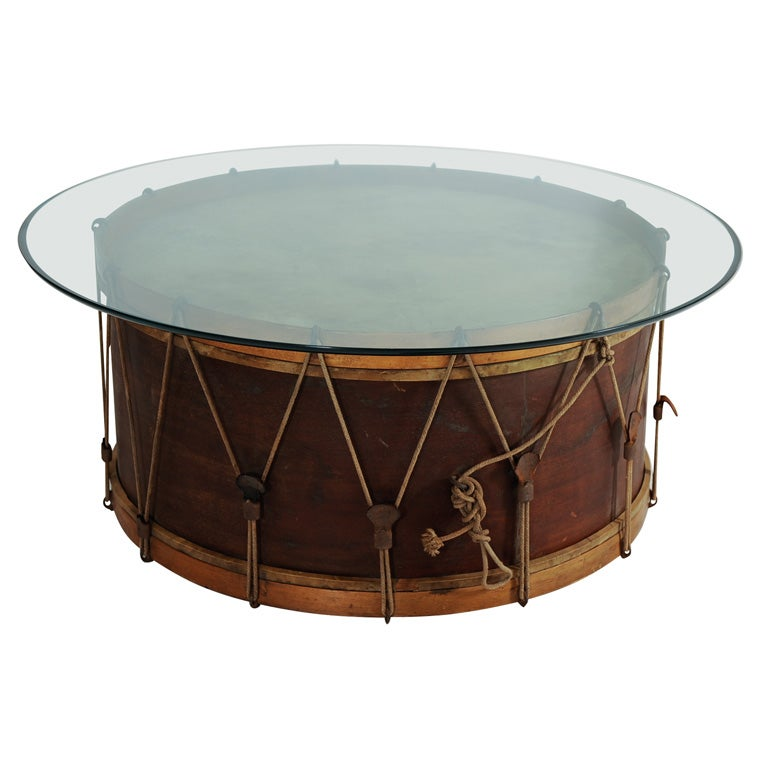 Bentwood Marching Band Base Drum Coffee Table W Glass Top At 1stdibs