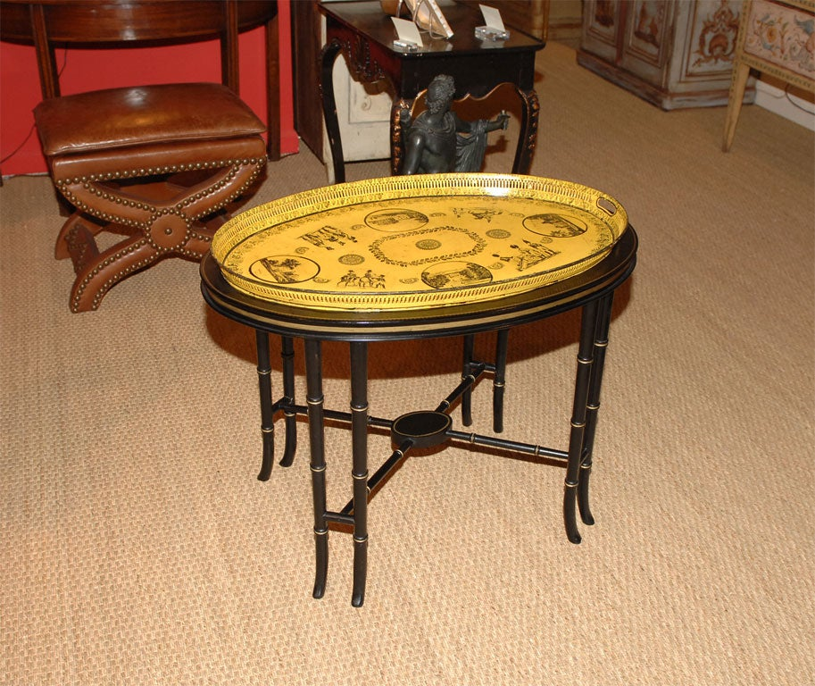 A Charles X Tole Galleried Tray  on Later Custom Bamboo Turned Stand.