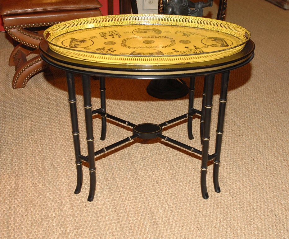 French Charles x Tole Tray on Stand