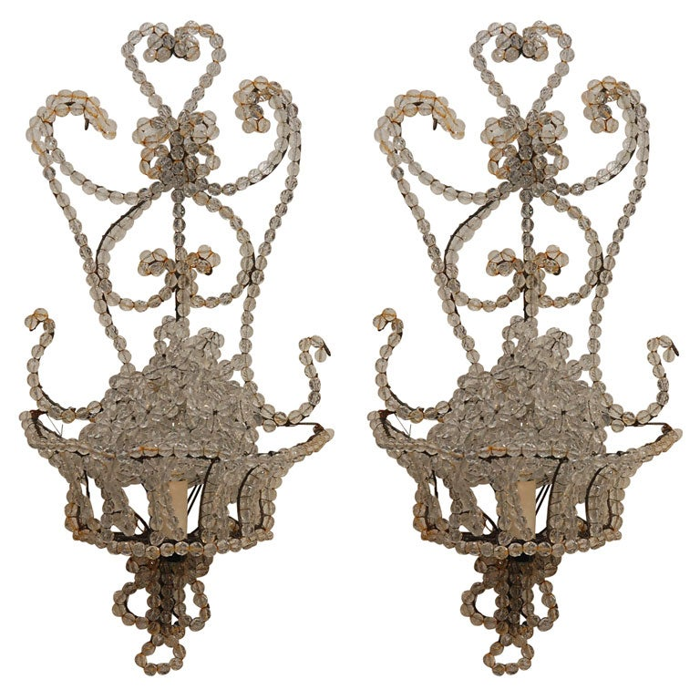 Beaded Crystal Wall Sconces : Pair of French Style Crystal Beaded Sconces at 1stdibs
