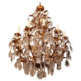 Large Gilt Metal and Crystal Chandeliers
