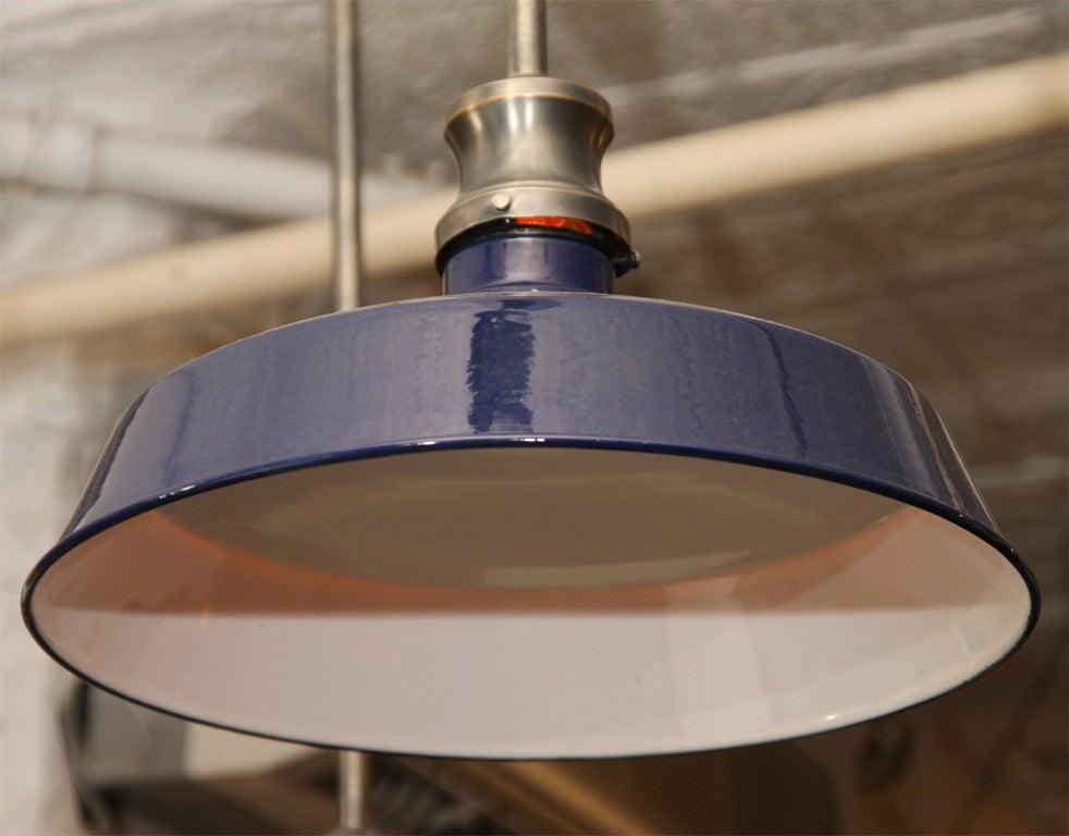 group of three cobalt blue enamel industrial pendant lights at 1stdibs. Black Bedroom Furniture Sets. Home Design Ideas