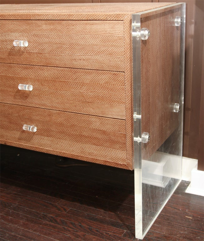 Snake Skin Dresser with Lucite Side Panels 4