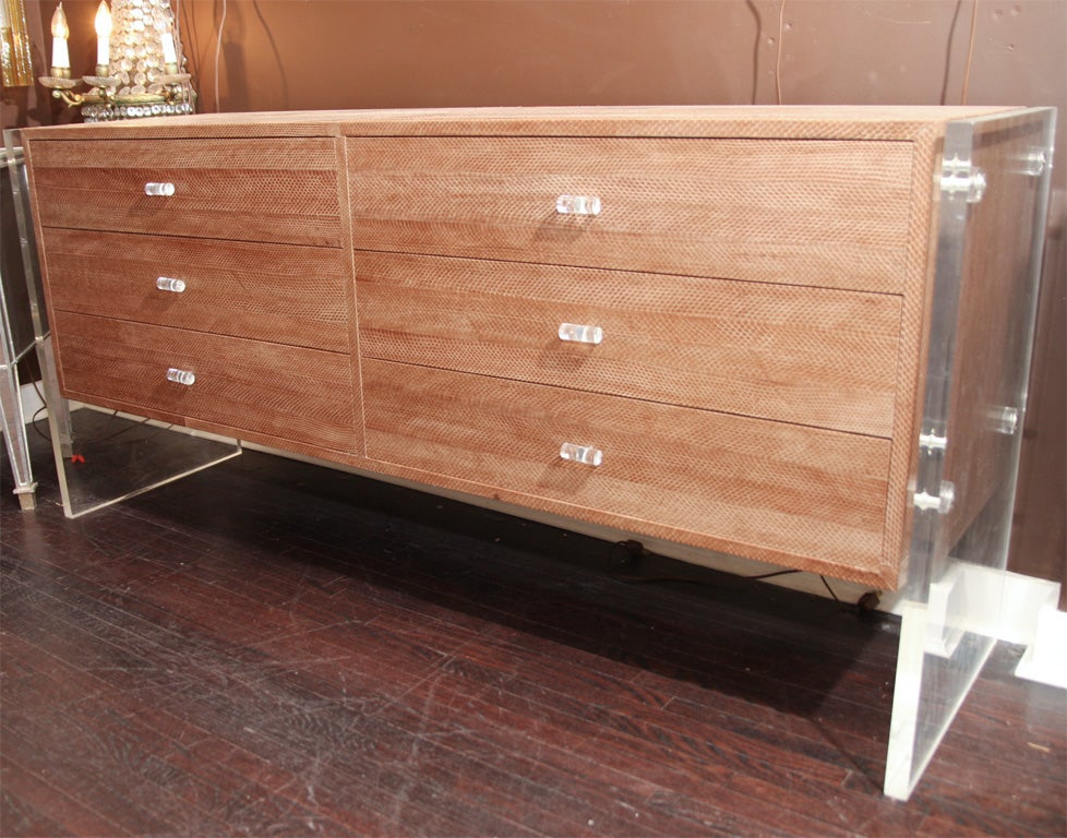Snake Skin Dresser with Lucite Side Panels 5