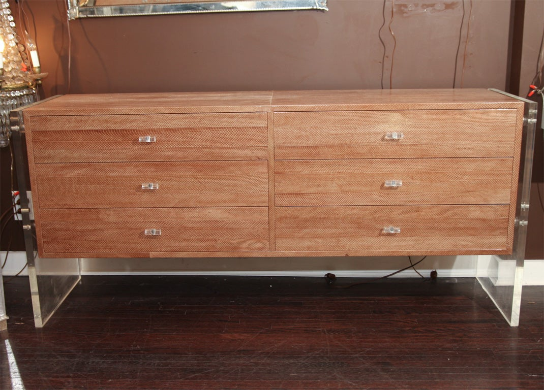 Snake Skin Dresser with Lucite Side Panels 7