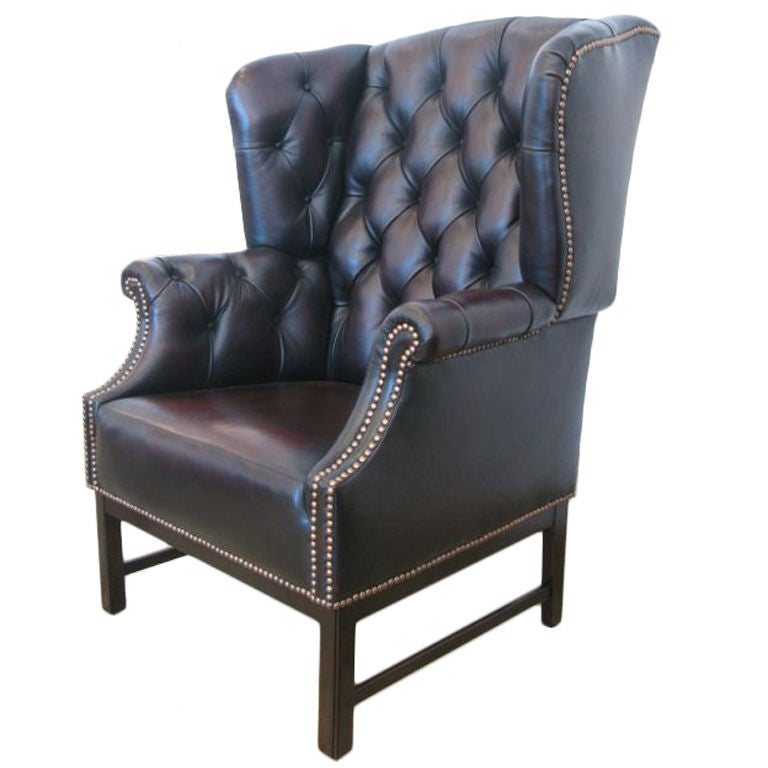 Espresso Leather Wing Back Chair At 1stdibs