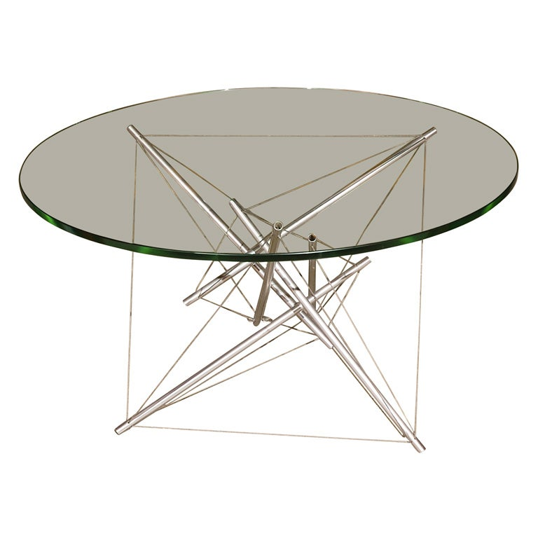 Vanson Glass Top Stainless Steel Wired Side Table At 1stdibs