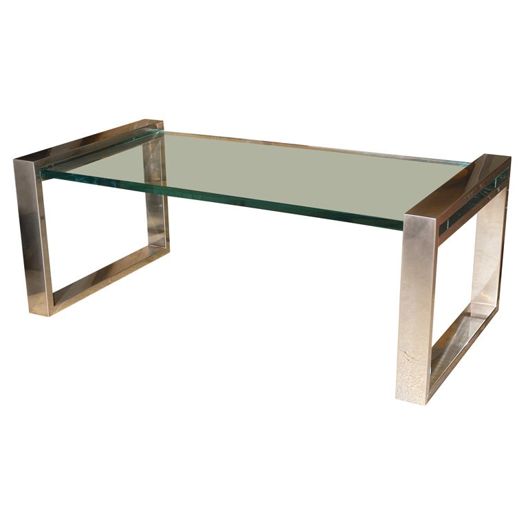 Charles Hollis Jones Rectangular Chrome And Lucite Coffee Table At 1stdibs