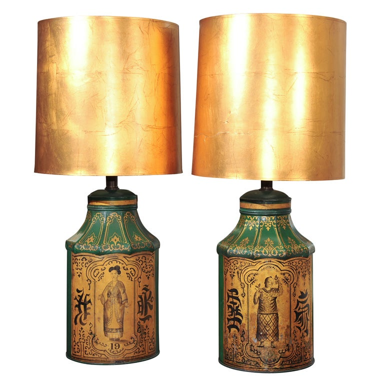 Pair English Tole Painted Tin Tea Canister Table Lamps At
