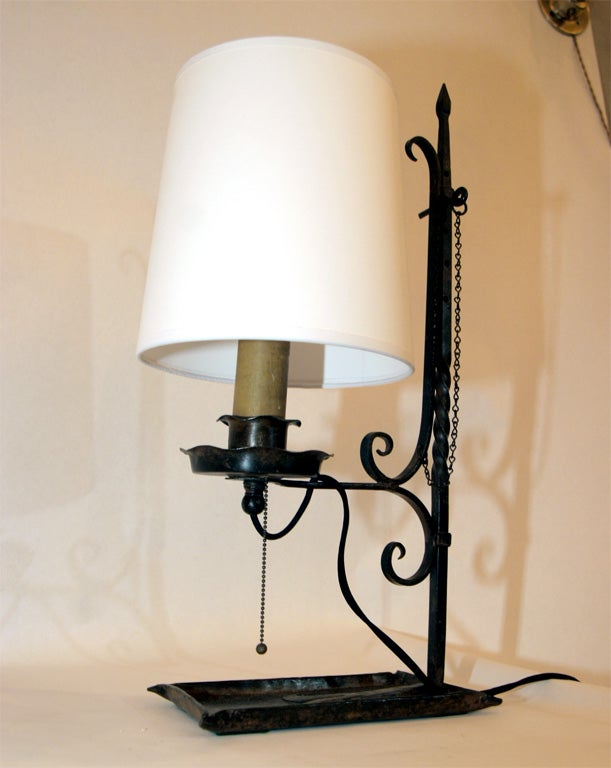 an arts and crafts hand wrought iron table lamp at 1stdibs. Black Bedroom Furniture Sets. Home Design Ideas