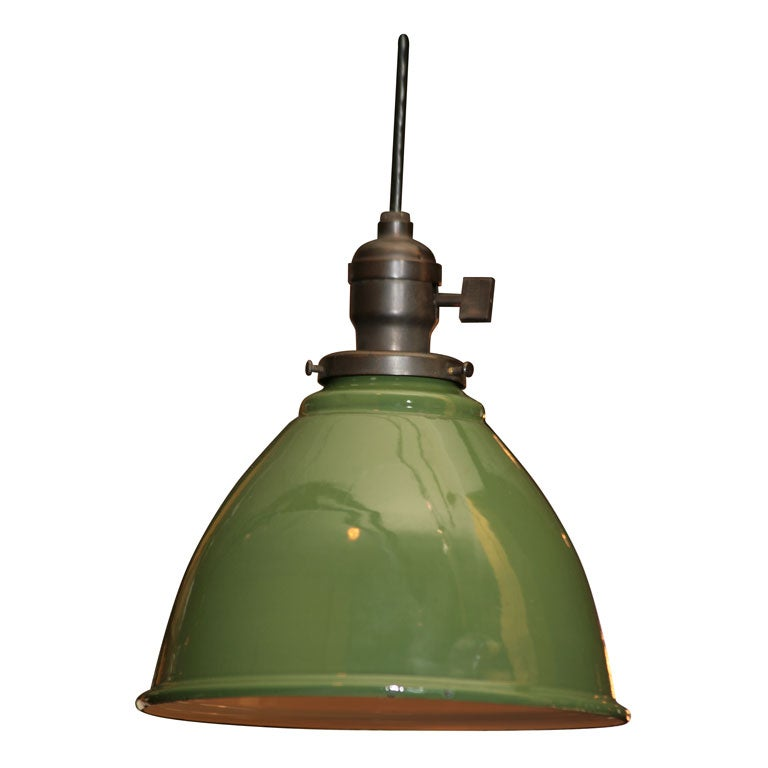 green enamel pendant fixture at 1stdibs