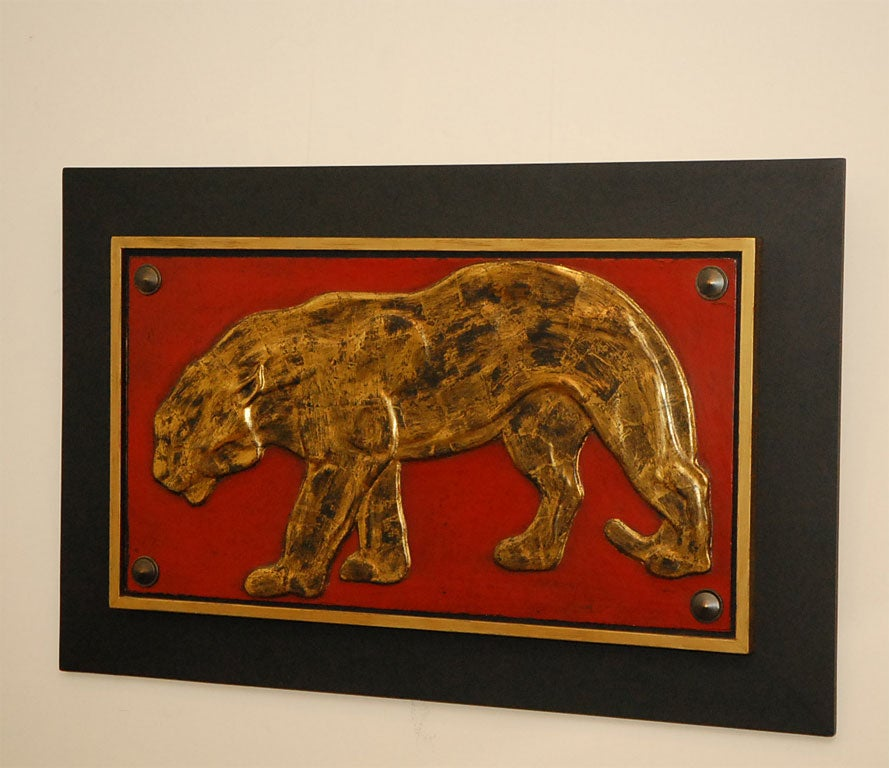 Panther wood carving bas relief at stdibs