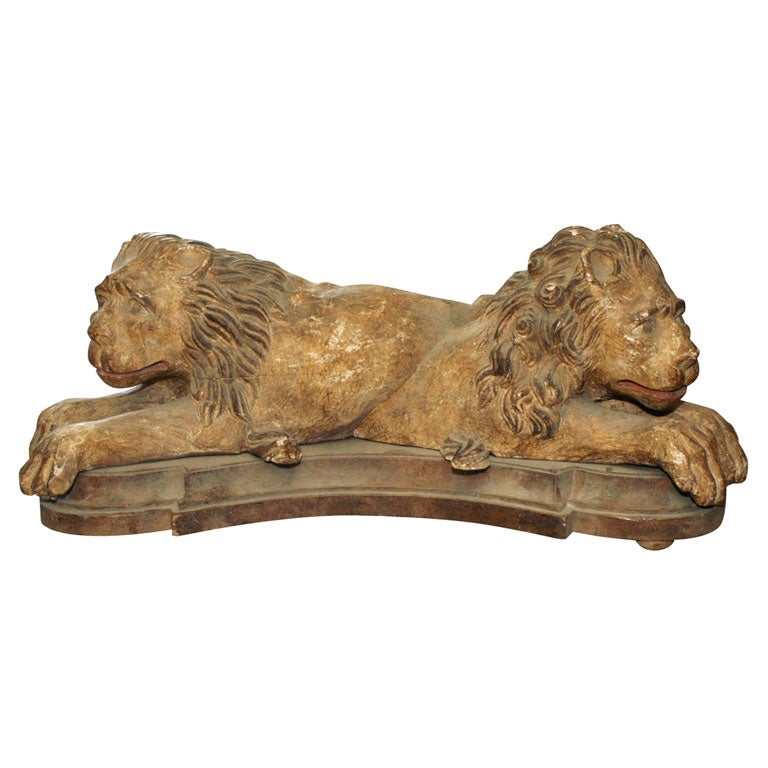 Pair 19th c Sculpted Wood Lions