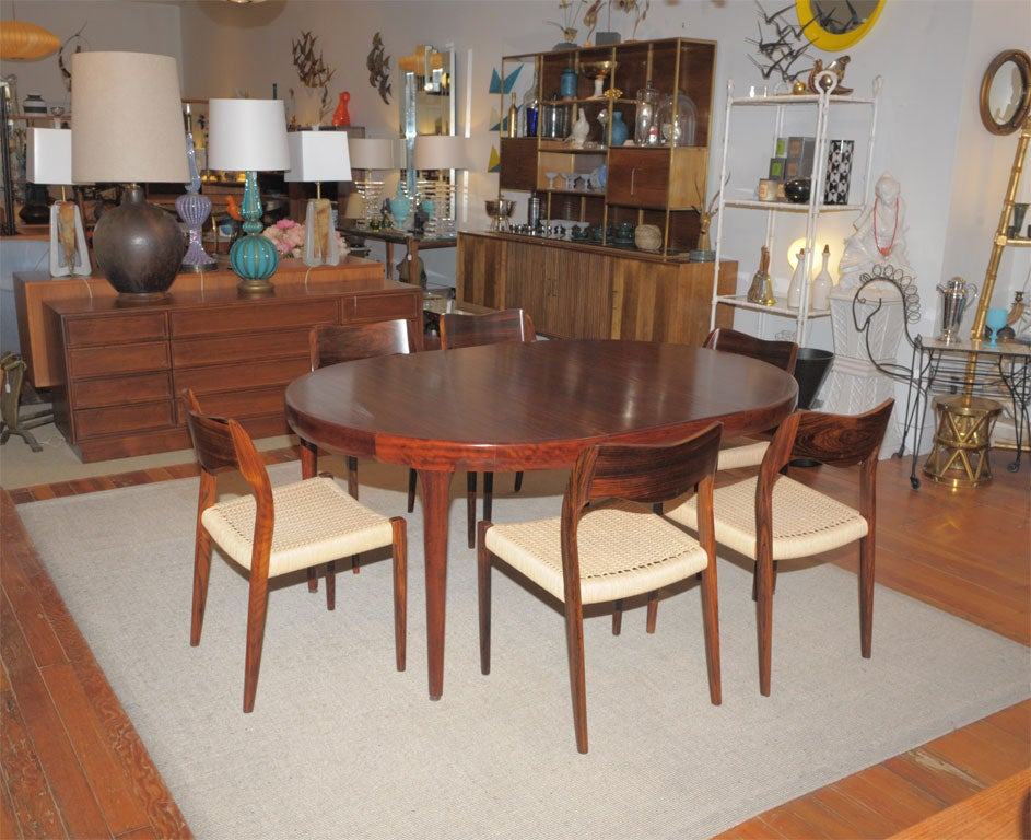Danish Modern Rosewood Dining Table And Chairs 2