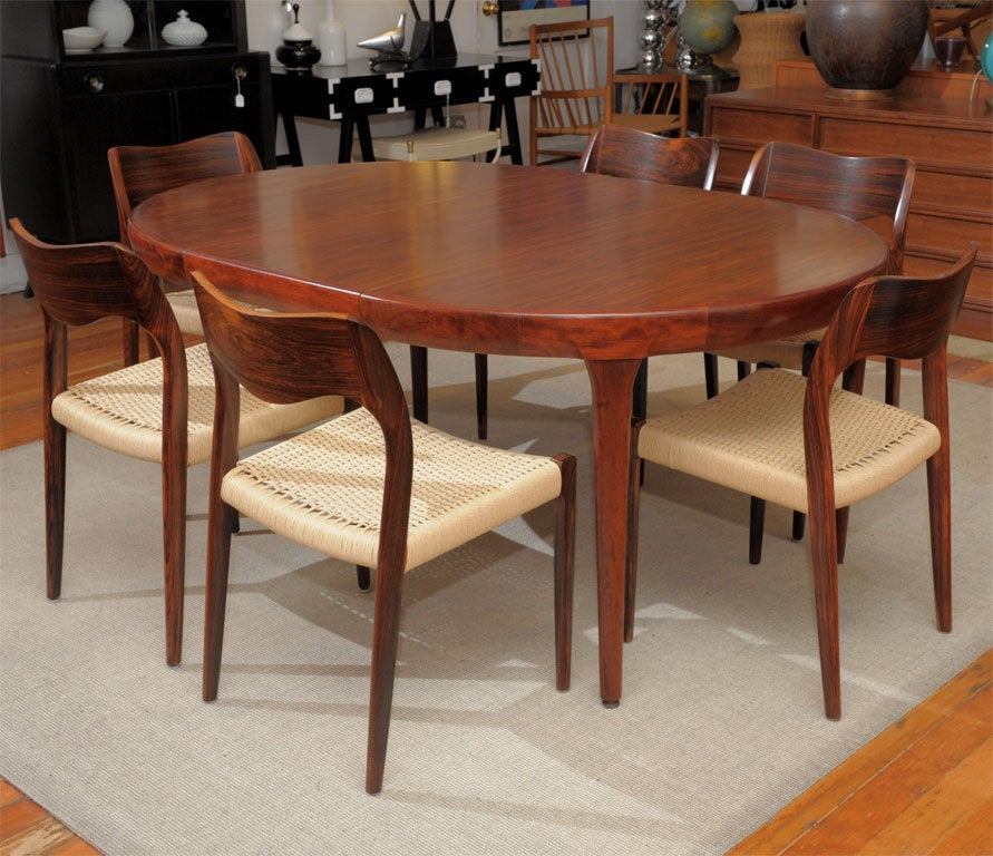 Danish Modern Rosewood Dining Table and Chairs at 1stdibs