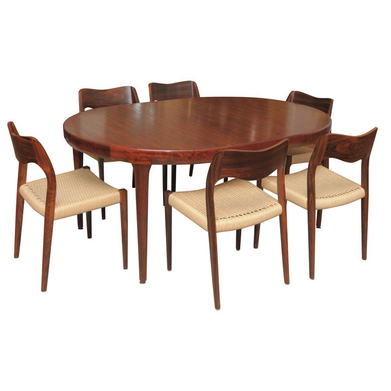 this danish modern rosewood dining table and chairs is no longer