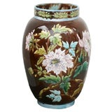 """Large Scale Majolica Floral Vase """"Aesthetic Movement"""""""