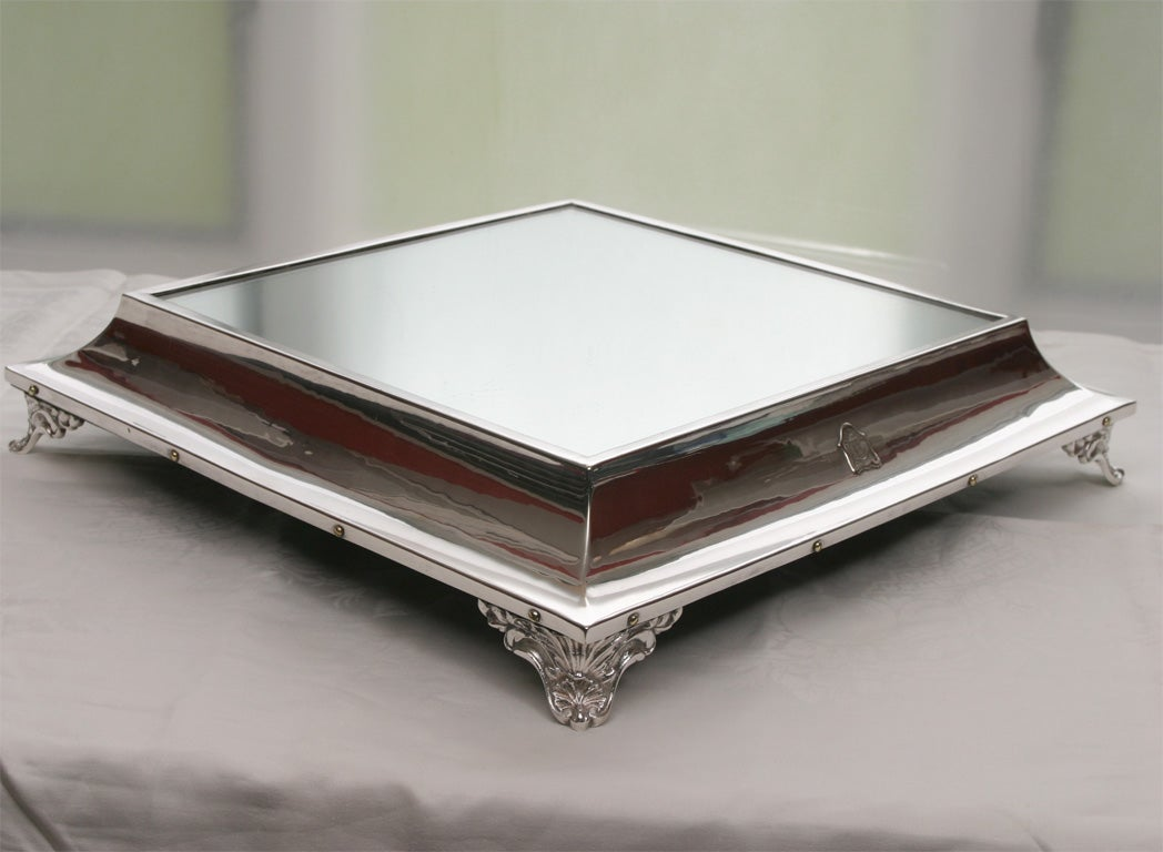 Mid-20th Century WWII Silver Plate Mirrored Plateau or Cake Stand in Box For Sale