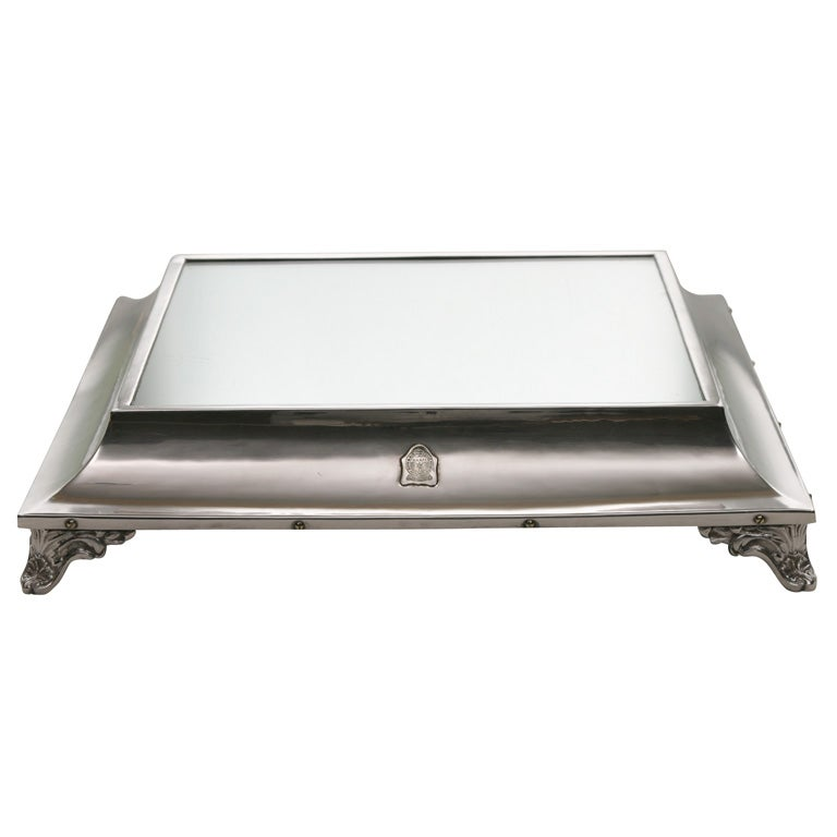 WWII Silver Plate Mirrored Plateau or Cake Stand in Box For Sale