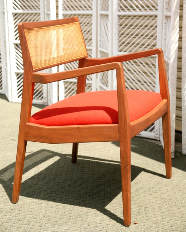 Jens risom walnut cane back dining chairs at 1stdibs - Jens risom dining chairs ...