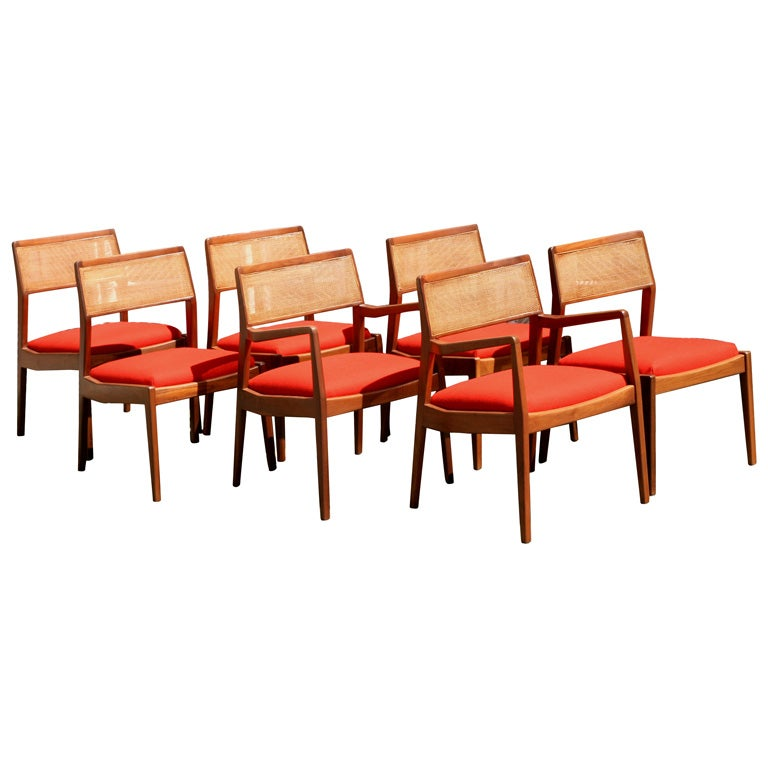 jens risom walnut cane back dining chairs at 1stdibs