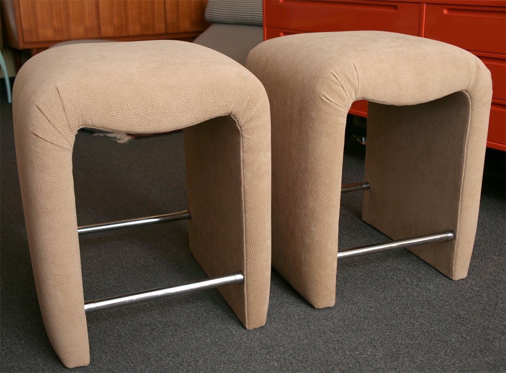 Luxe Modern Faux Ostrich Upholstered Stools For Sale At