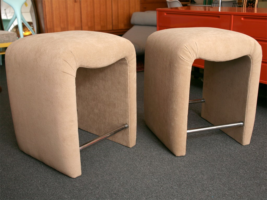 American Modern Luxe Modern Faux Ostrich Upholstered Stools For Sale