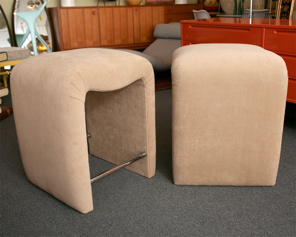 American Luxe Modern Faux Ostrich Upholstered Stools For Sale