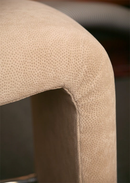 Luxe Modern Faux Ostrich Upholstered Stools For Sale 3