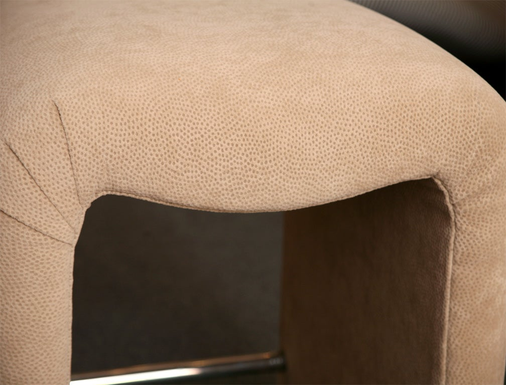 Luxe Modern Faux Ostrich Upholstered Stools For Sale 4