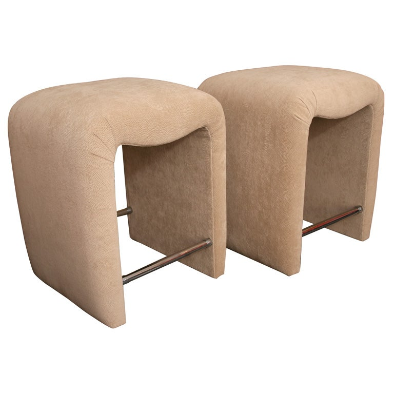 Luxe Modern Faux Ostrich Upholstered Stools For Sale