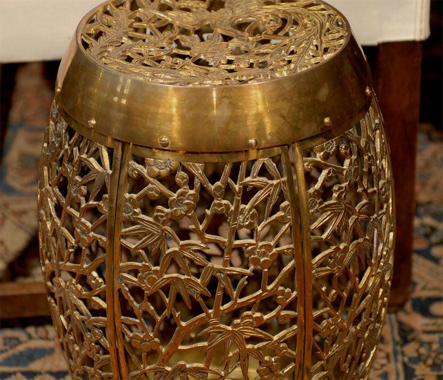 Vintage Pierced Brass Garden Seat With Bamboo And Bird