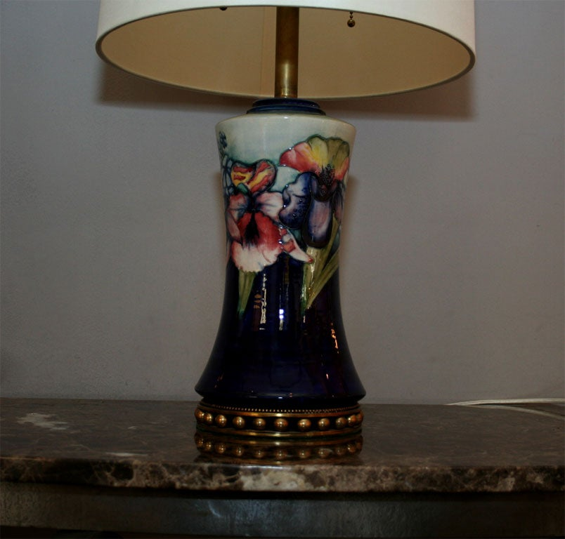 English Moorcroft Art Deco pair of ceramicTable Lamps  For Sale