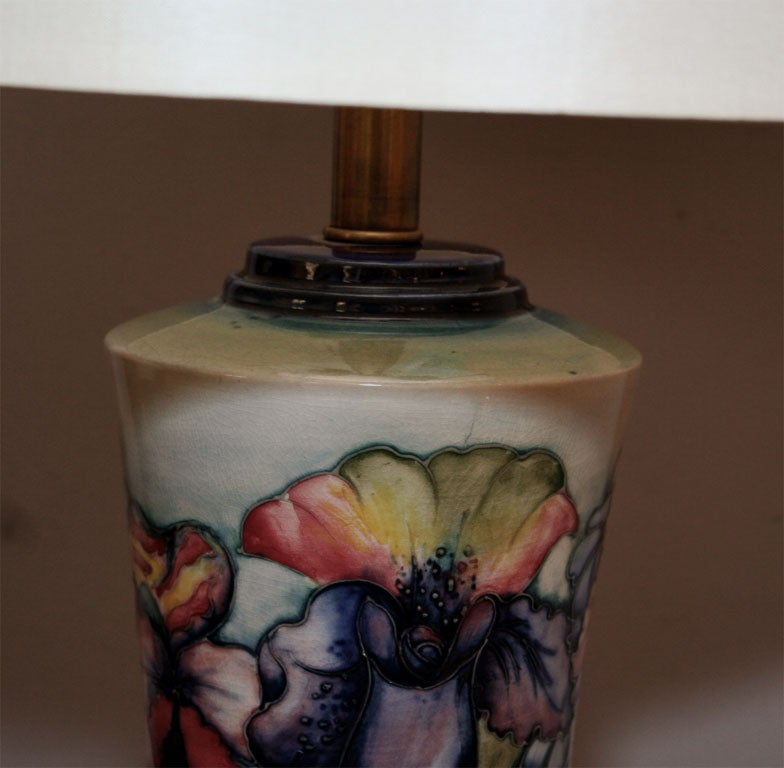 Early 20th Century Moorcroft Art Deco pair of ceramicTable Lamps  For Sale