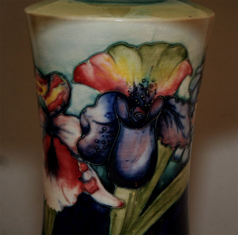 Brass Moorcroft Art Deco pair of ceramicTable Lamps  For Sale